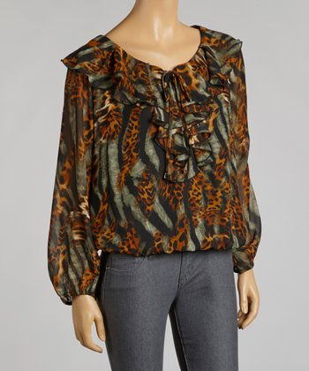 Brown Leopard Ruffle Chiffon Top