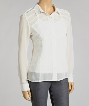 Ivory Chiffon Layered Button-Up