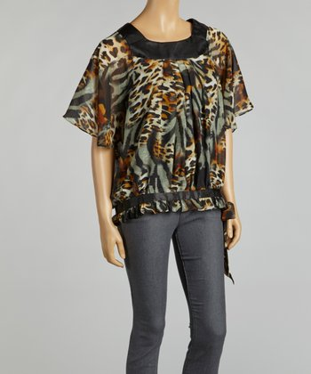 Brown Snakeskin Chiffon Cape-Sleeve Top
