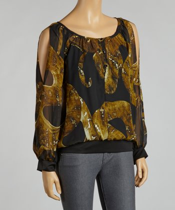 Olive & Black Snakeskin Chiffon Layered Top