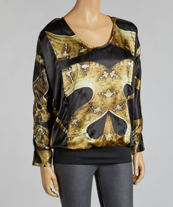 Brown & Black Snakeskin Chiffon Top