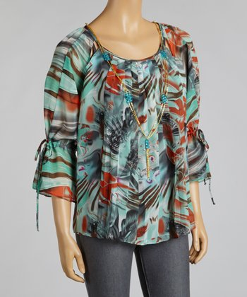 Blue Jungle Chiffon Layered Top