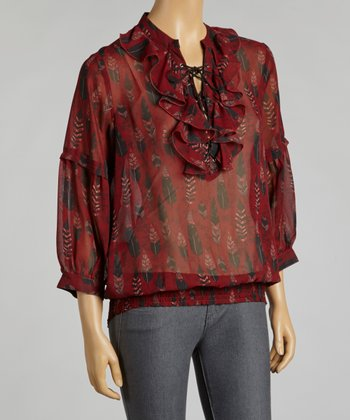Burgundy Flourish Ruffle Shirred Top