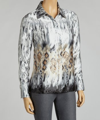 Silver & Gold Abstract Button-Up