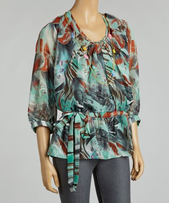 Blue Jungle Chiffon Tunic