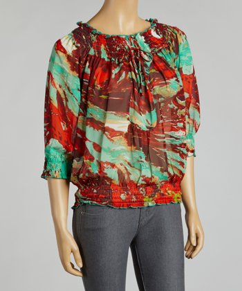 Blue & Red Abstract Chiffon Peasant Top