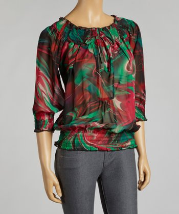 Emerald & Red Abstract Chiffon Peasant Top