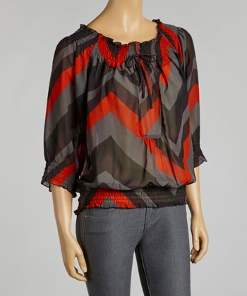 Black & Red Zigzag Chiffon Peasant Top