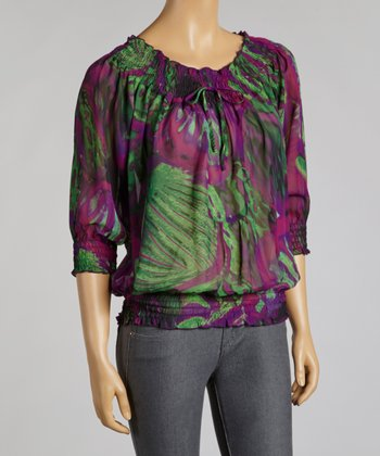 Emerald & Purple Abstract Chiffon Peasant Top