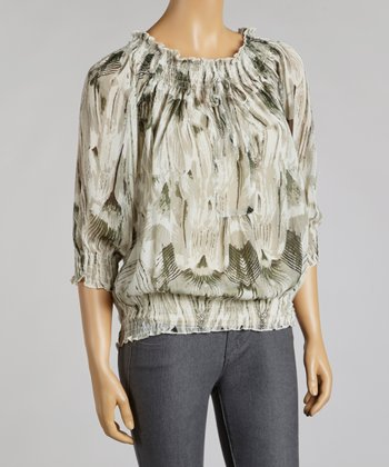 Gray Abstract Chiffon Peasant Top