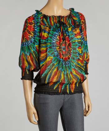 Black & Orange Feather Chiffon Peasant Top