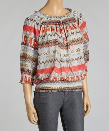 Gray & Red Tribal Chiffon Peasant Top