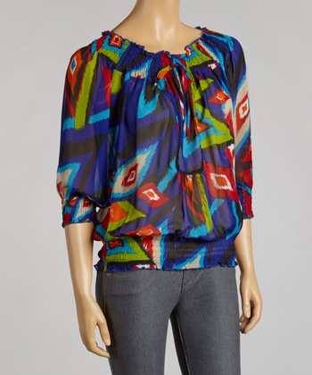 Blue & Red Ikat Chiffon Peasant Top
