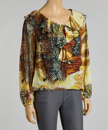Brown & Maize Snakeskin Ruffle Chiffon Top