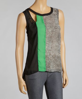 Black & Emerald Color Block Chiffon Sleeveless Top