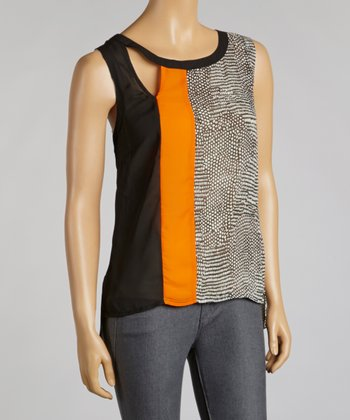Black & Orange Color Block Chiffon Sleeveless Top