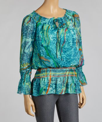 Stardust Blue Chiffon Peasant Top