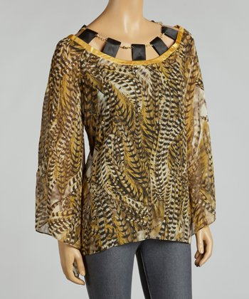 Gold & Black Peasant Feather Chiffon Layered Top