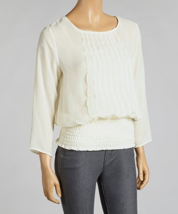 Ivory Pleat Shirred Layered Top