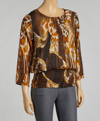 Brown & Rust Leopard Pleat Shirred Layered Top