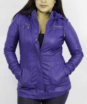 Royal Blue Cinched Hooded Jacket