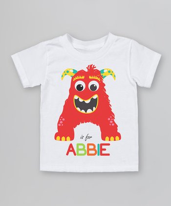 White 'A is for' Organic Personalized Tee - Infant, Toddler & Kids