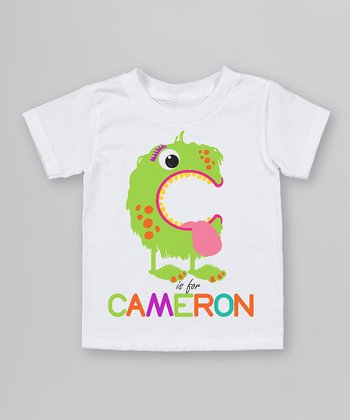 White 'C is for' Organic Personalized Tee - Infant, Toddler & Kids