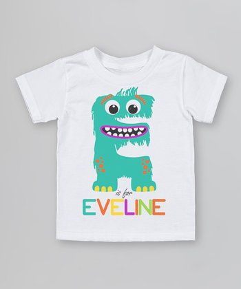 White 'E is for' Organic Personalized Tee - Infant, Toddler & Kids