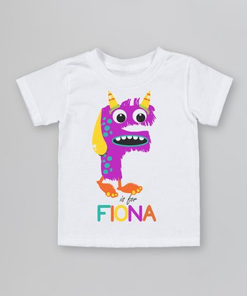 White 'F is for' Organic Personalized Tee - Infant, Toddler & Kids
