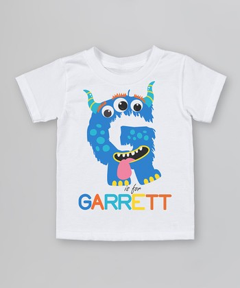 White 'G is for' Organic Personalized Tee - Infant, Toddler & Kids