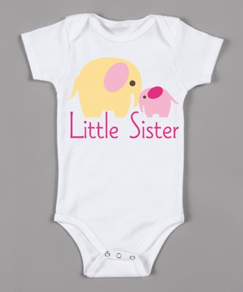 White & Pink 'Little Sister' Organic Bodysuit - Infant