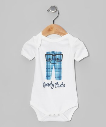 White 'Smarty Pants' Organic Bodysuit - Infant