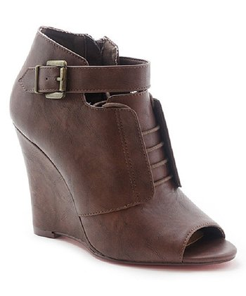 Tan Bayle Peep-Toe Boot Wedge