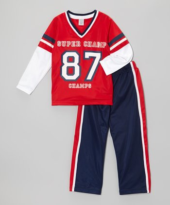Red 'Super Champ' Top & Track Pants - Toddler & Boys