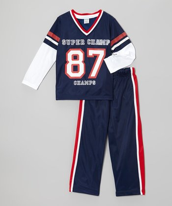 Navy 'Super Champ' Top & Track Pants - Toddler & Boys