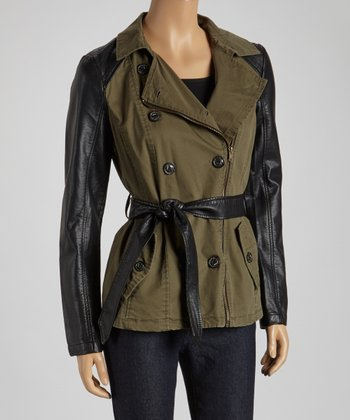 Olive & Black Double-Breasted Trench Coat