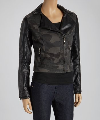Charcoal Camo Asymmetrical Zipper Moto Jacket