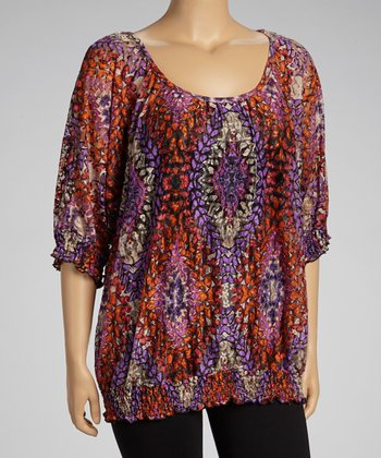 Purple & Orange Lace Three-Quarter Sleeve - Plus