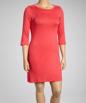 Pink Three-Quarter Sleeve Tunic - Plus