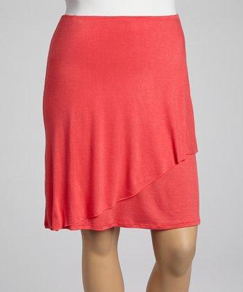 Pink Faux Wrap Skirt - Plus