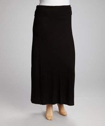 Black Fold-Over Maxi Skirt - Plus