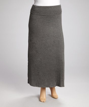 Charcoal Fold-Over Maxi Skirt - Plus