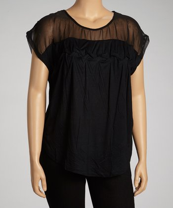 Black Cinched Sheer Dolman Top - Plus