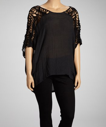 Black Crochet Cape-Sleeve Top - Plus