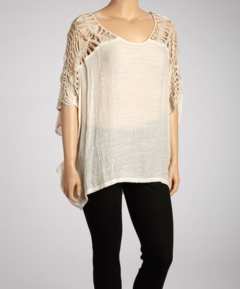 Khaki Crochet Cape-Sleeve Top - Plus