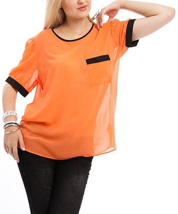 Orange & Black Short-Sleeve Top - Plus