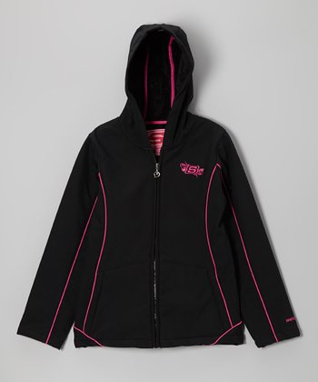 Black Bonded Soft Shell Jacket - Girls