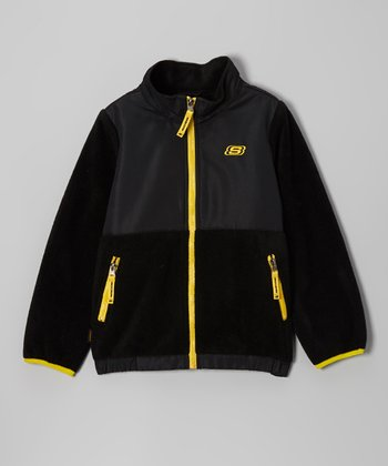 Black & Gold Arctic Fleece Transweight Jacket - Boys