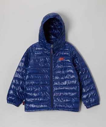 Navy Microfiber Sweater Down Jacket - Boys