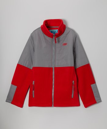 Charcoal & Red Classic Arctic Fleece Transweight Jacket - Boys